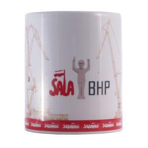 Kubek z logo Sali BHP nadruk sepia